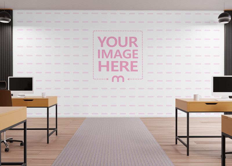 Wall Print Art Mockup in Front of a Computer Lab Room