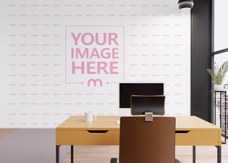 Wall Print Art Mockup With a Chair and Desk in Front of it