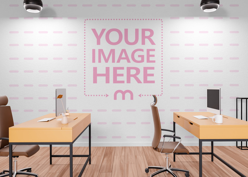 Print Wall Art Mockup on the Side of a Computer Lab Room