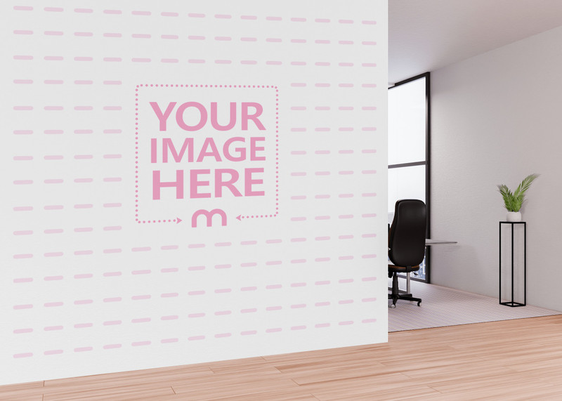 Wall Print Art Mockup Showing Back Side of a Working Chair