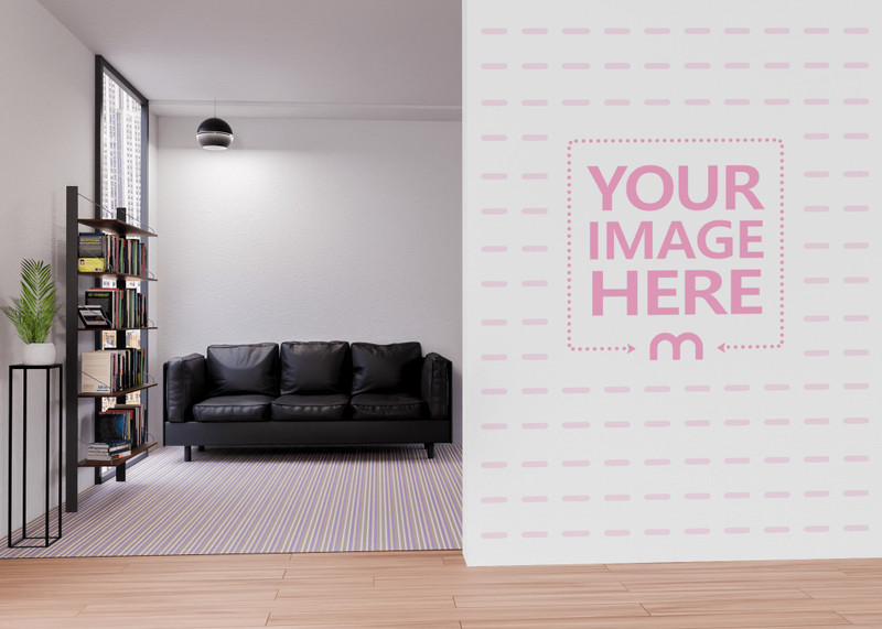 Mockup of a Wall Print Art Showing The Room Divider