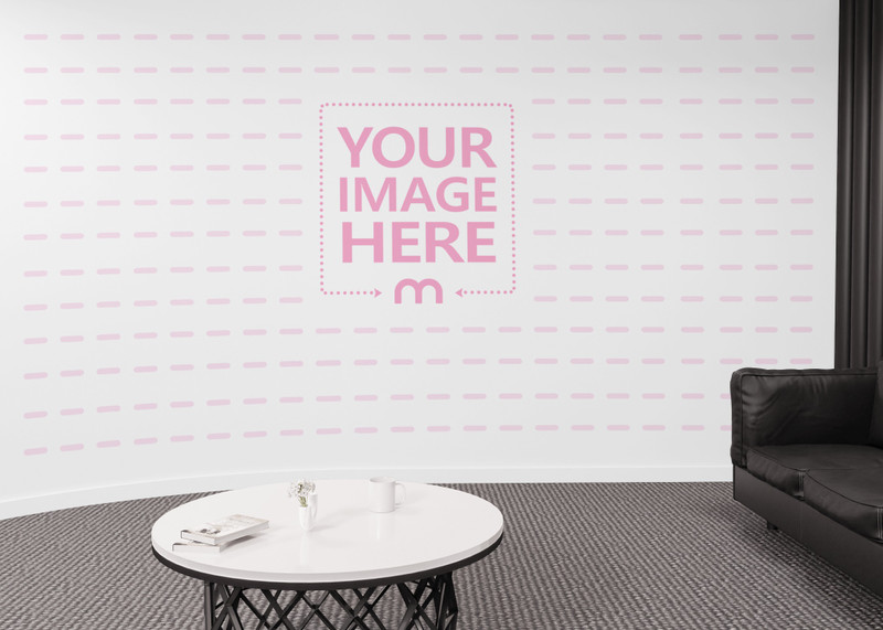 Print Art Wall Mockup on a Curved Wall Slightly Covered by White Table