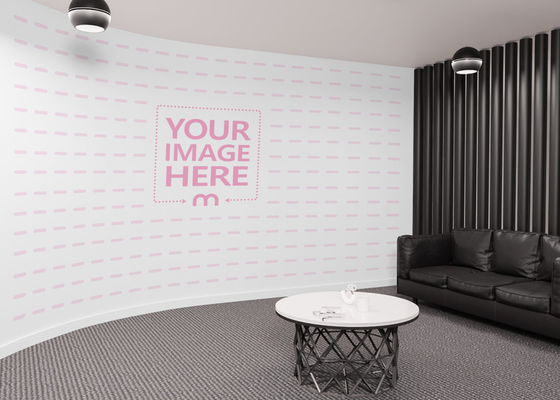 A Mockup of Print Art Wall on a Curved Wall in a Lounge