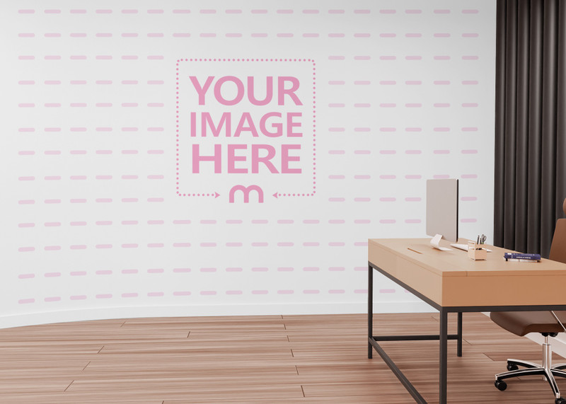 Mockup of a Print Art Wall Beside a Desk and Chair