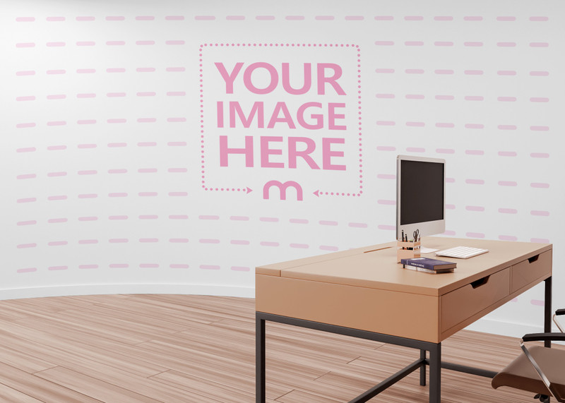 Wall Art Print Mockup Slightly Covered By Working Desk