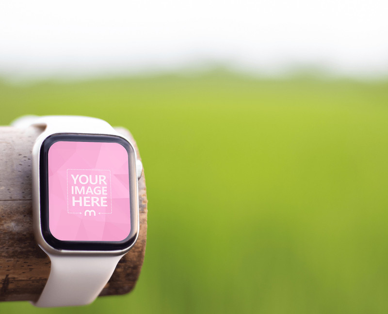 Smartwatch Mockup Featuring Out of Focus Rice Field Behind it