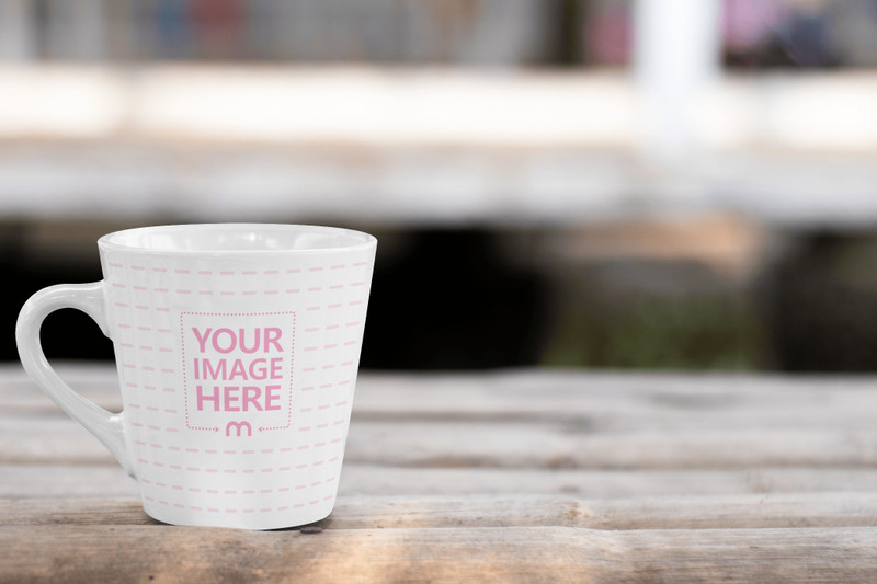 V Coffe Mug Mockup Placed On top of a Shed
