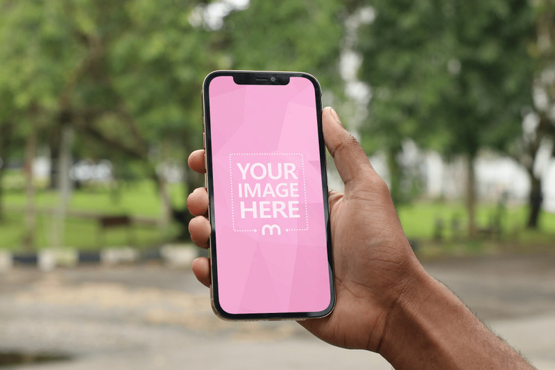 Mockup of an iPhone Held by a Black Man Showing Park Scenery preview image