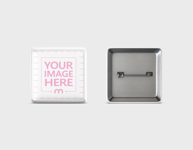 Square Pin Badge Design Mockup
