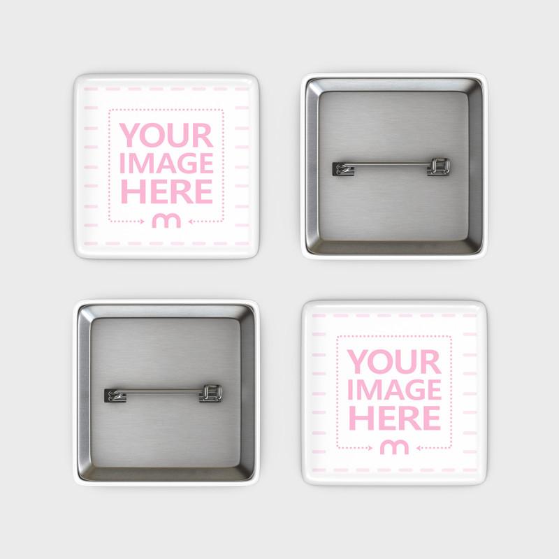 Four Square Pin Badges Mockup
