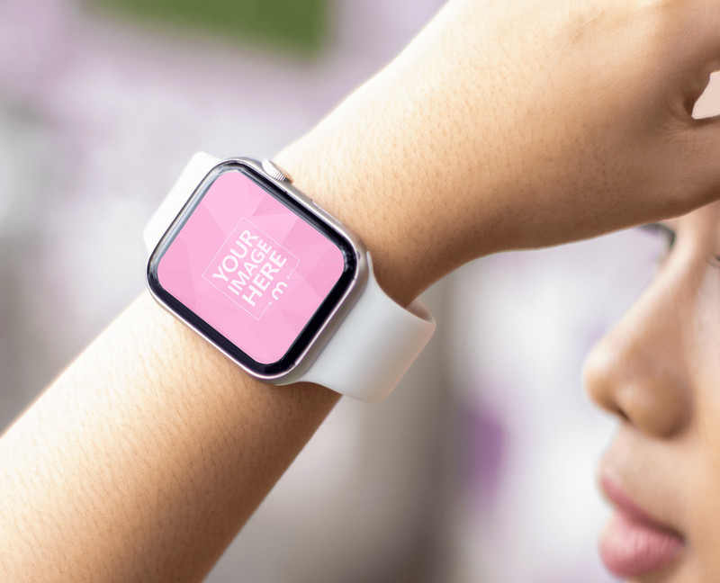 Smartwatch Mockup on a Hand of a Woman