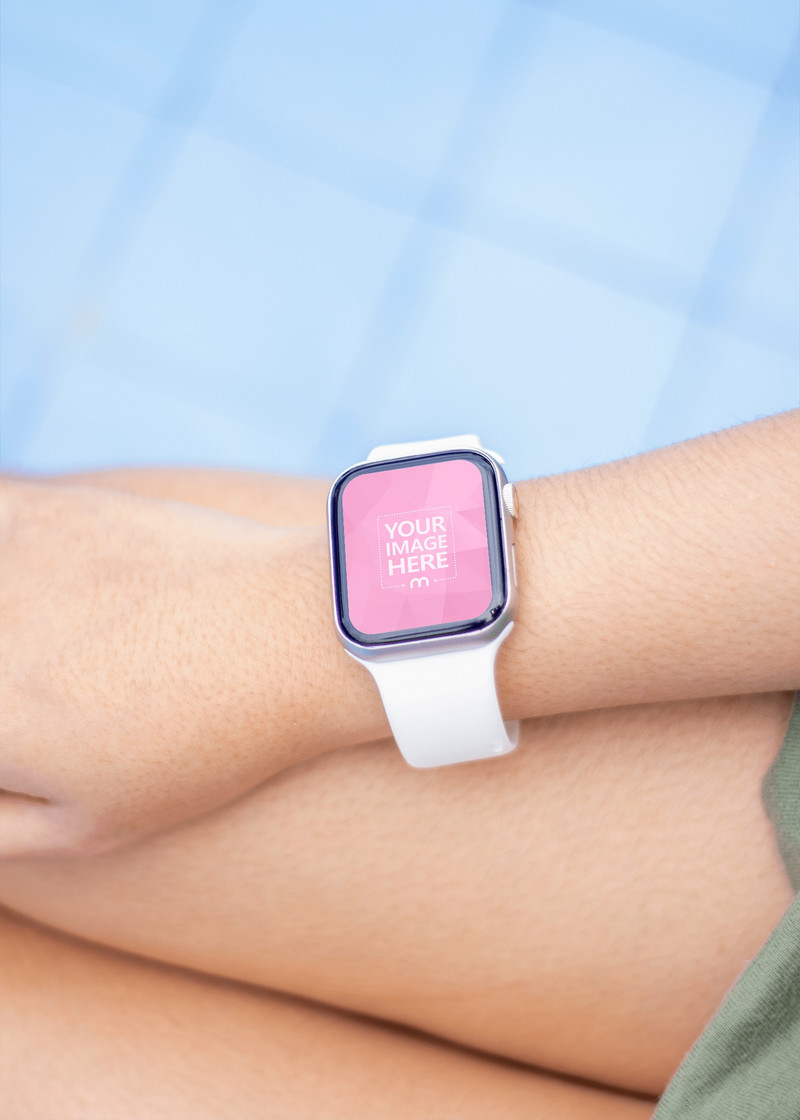 Smartwatch Mockup on top of a Thigh of a Woman