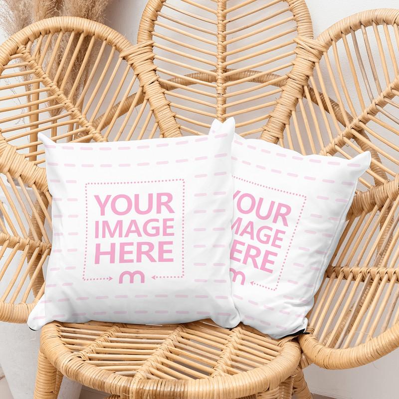 Pillows on Rattan Flower Chair Mockup