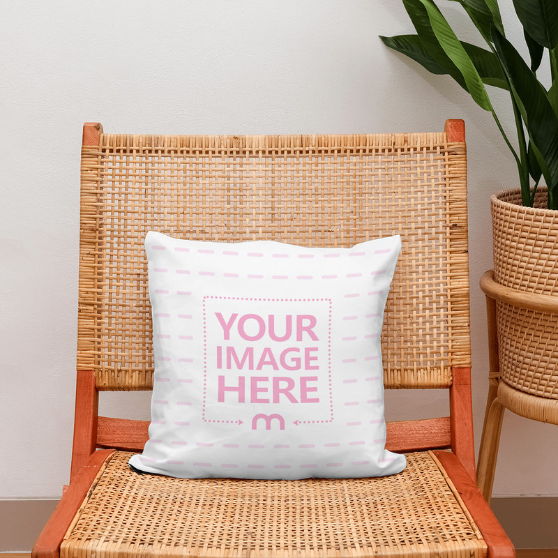 Pillow on Webbed Lounge Chair Mockup