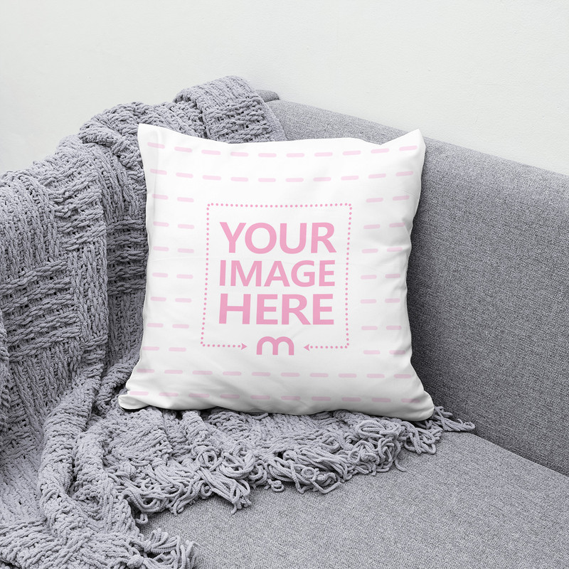 Pillow on Couch with Woven Blanket Mockup