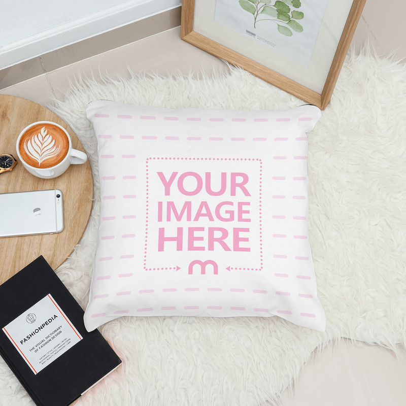 Lying Pillow on Rug in Decorated Scene