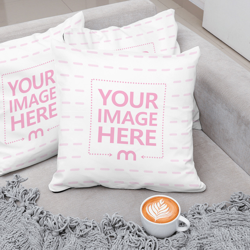 Three Pillows on Couch with Cup of Coffee Mockup