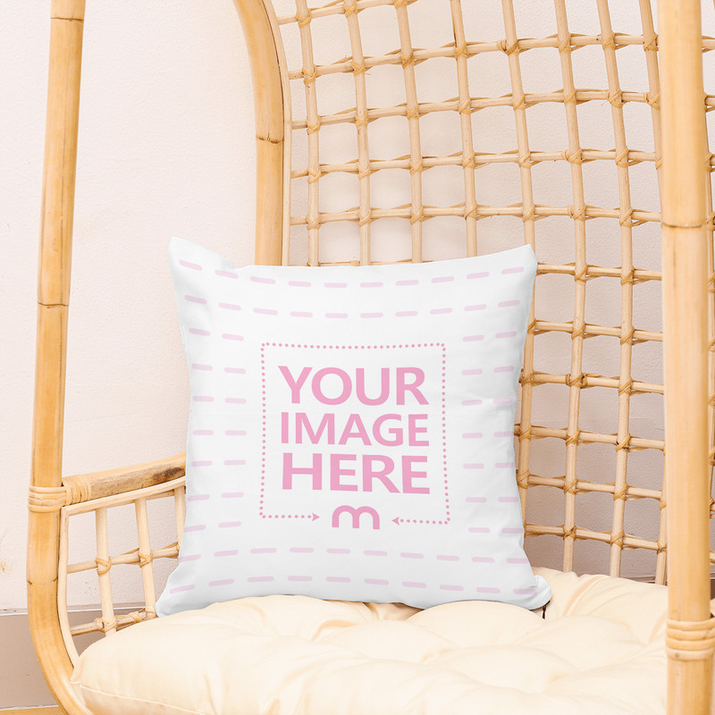 Pillow in Basket Chair Mockup