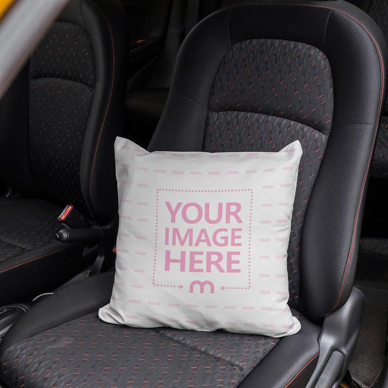 Pillow on Car Seat Mockup