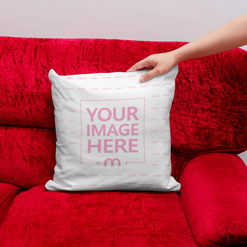 Pillow on Red Couch Mockup Generator