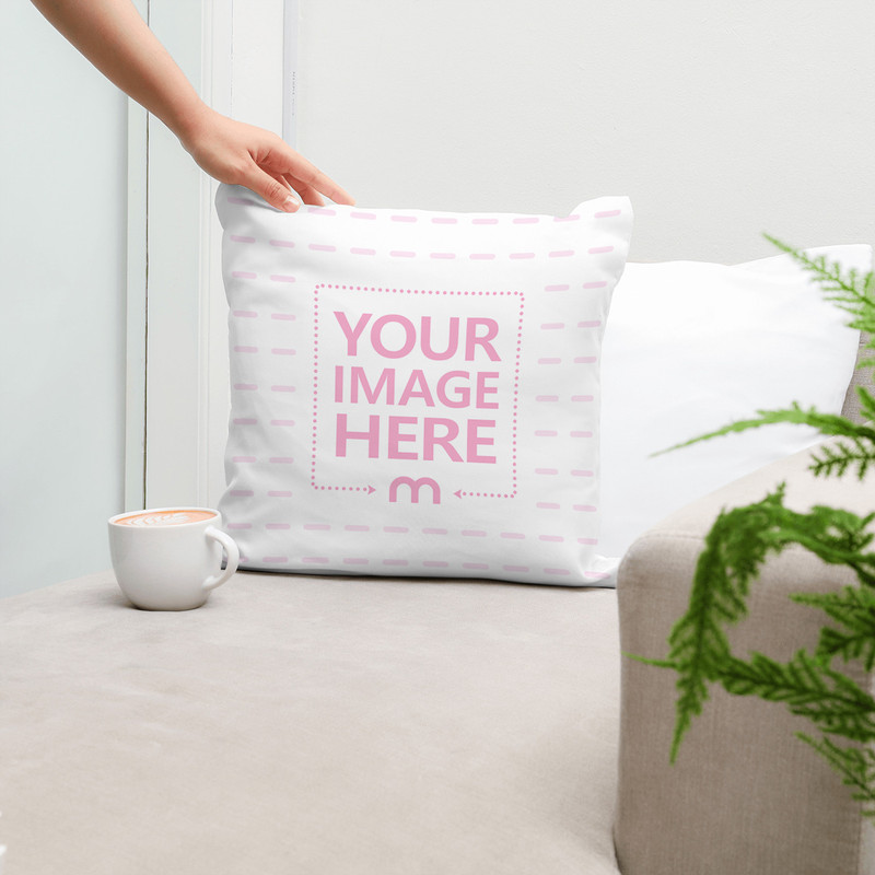 Pillow Displayed on Couch Mockup