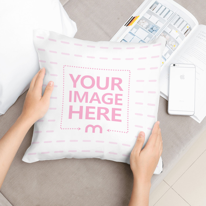 Woman Holding Pillow Lying on Couch Mockup