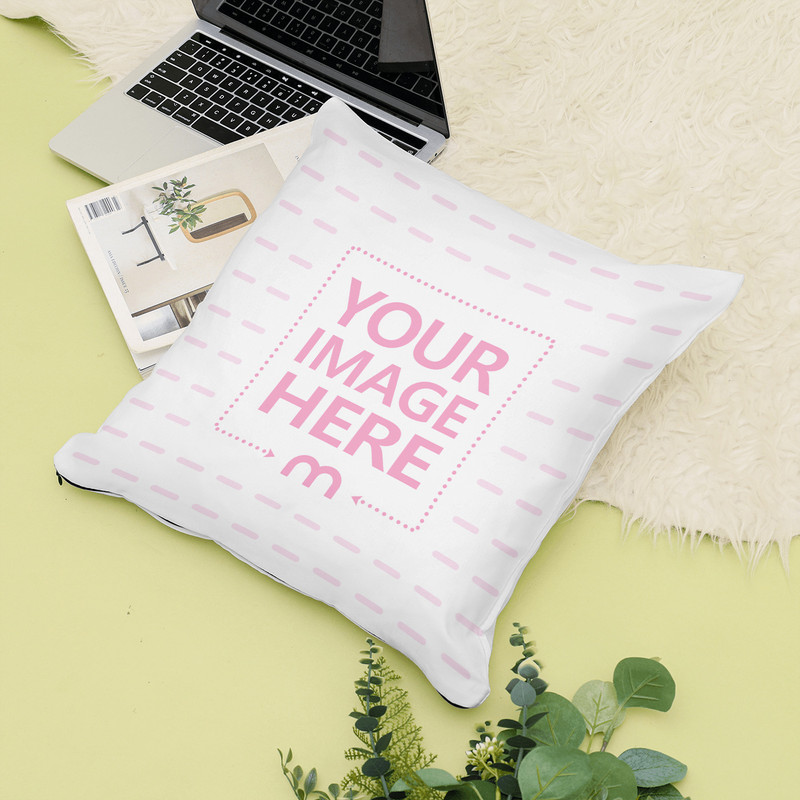 Lying Pillow in Decorated Scene Mockup