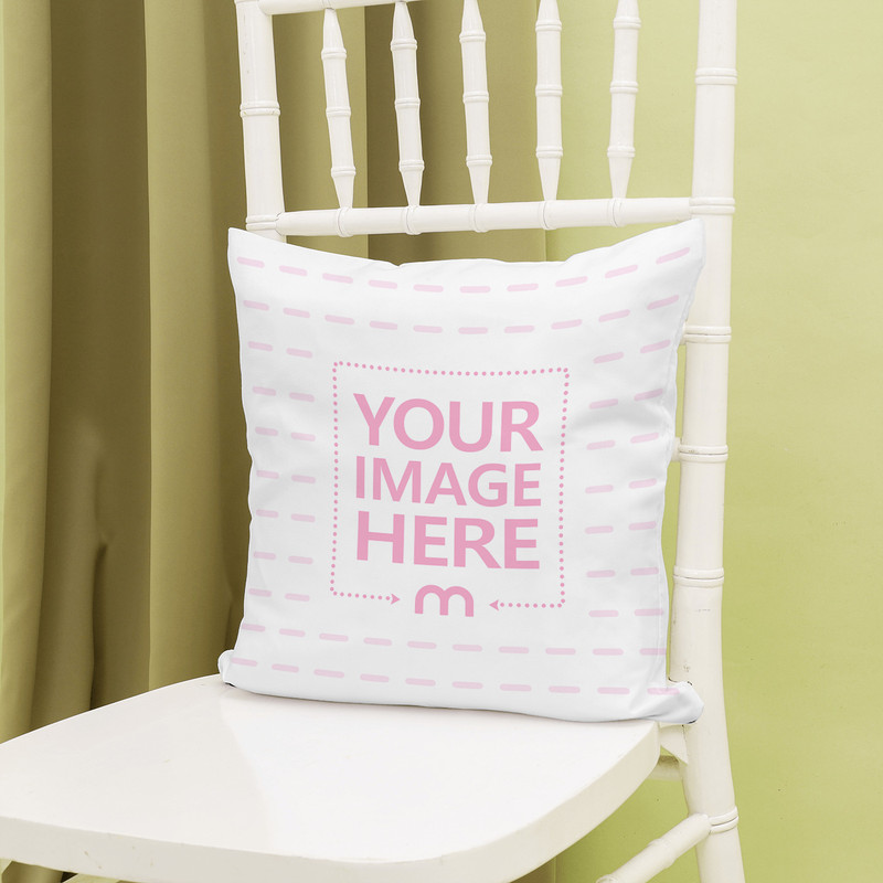 Pillow Standing on White Wooden Chair Mockup
