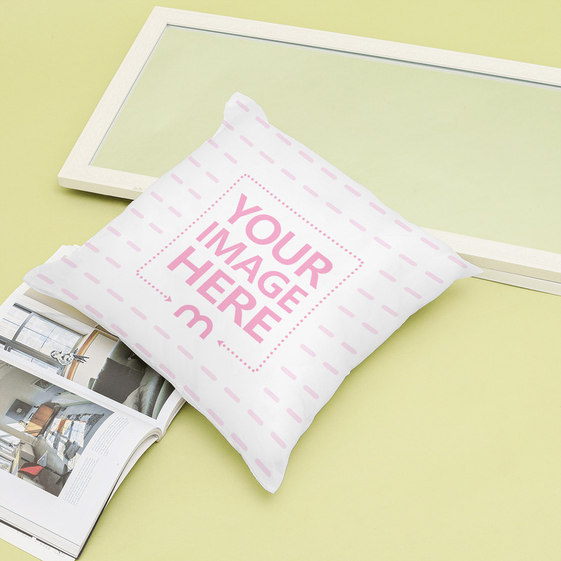 Pillow on Ground with Book Mockup