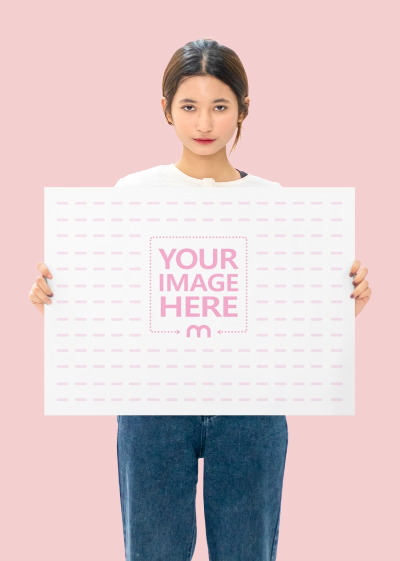 A2 Paper Mockup Featuring a Standing Woman Holding it While Facing to Her Front