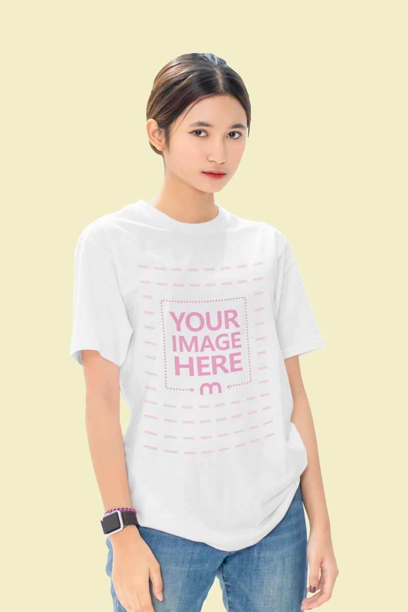 Mockup of a Shirt With a Woman Slightly Tilting Her Body