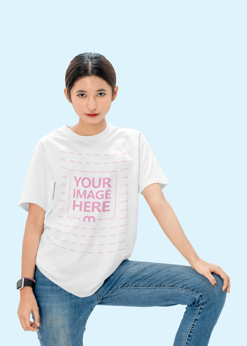 Mockup of a Shirt With a Woman Putting Her Hand on Her Knee