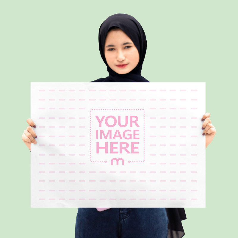 A2 Mockup Featuring a Woman Wearing Her Hijab Standing While Facing the Camera