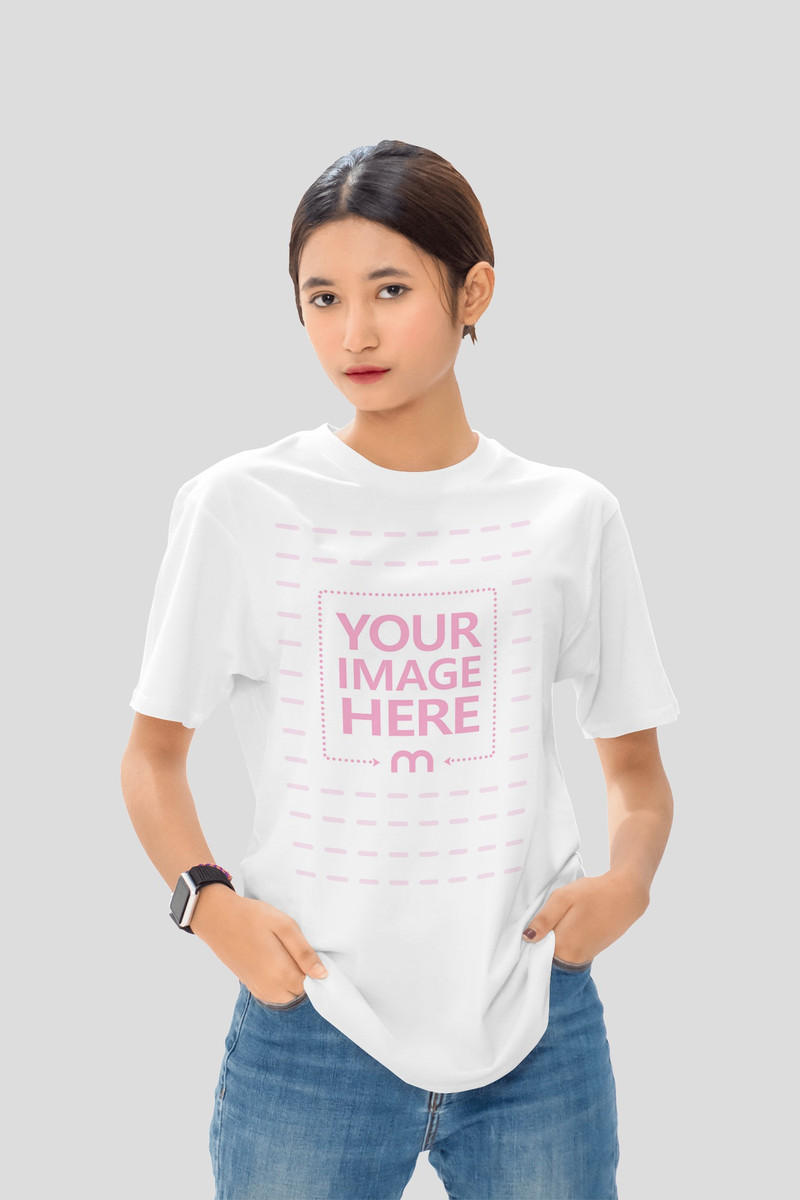 Shirt Mockup With a Woman Put Her Both Hands on Her Pocket