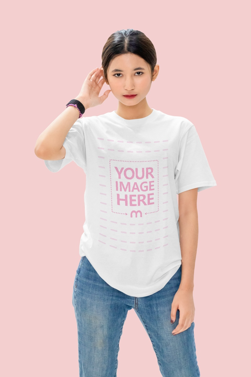 Mockup of a Shirt With a Woman Posing to the Camera
