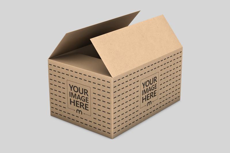 Open Cardboard Delivery Box Mockup