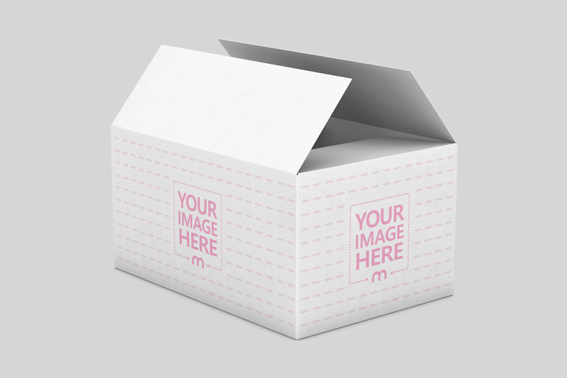 Open Shipping Box Mockup
