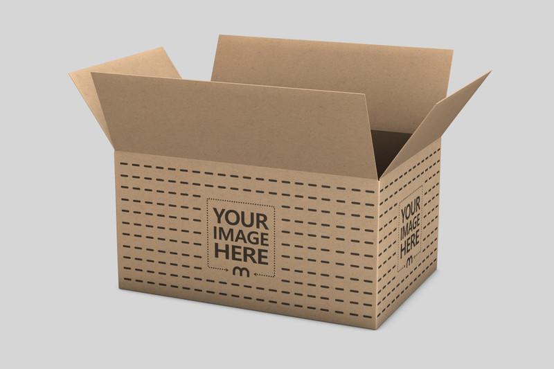 Open Cardboard Packaging Box Mockup
