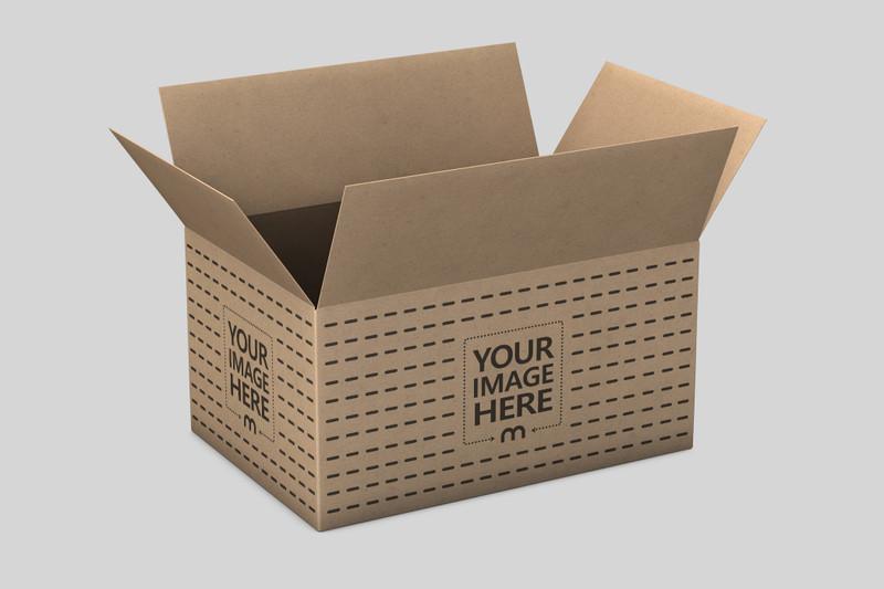 Open Cardboard Product Box Mockup