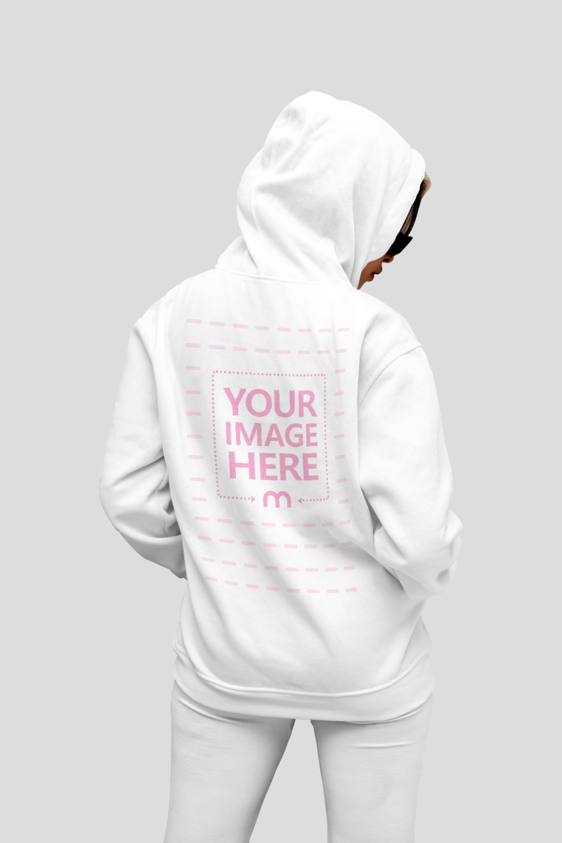 Back Side Hoodie Mockup Featuring a Woman Looking to Her Side