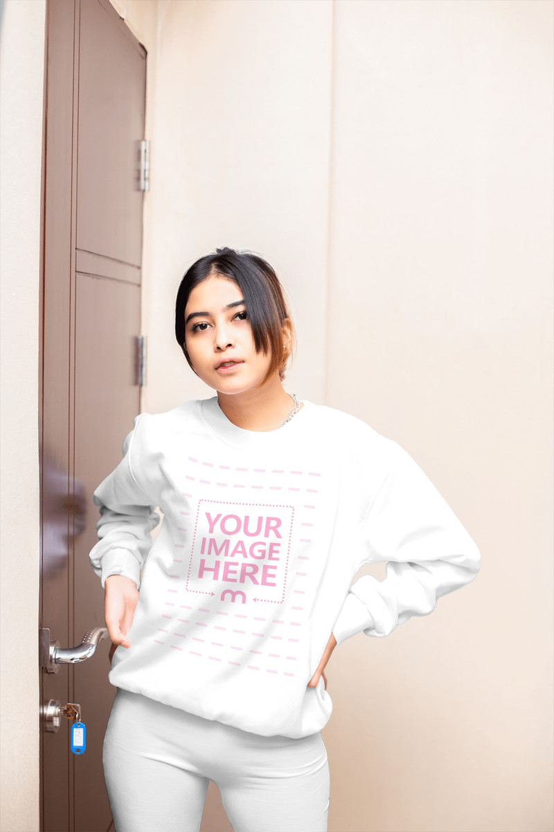 Sweatshirt Mockup of a Woman Beside a Door