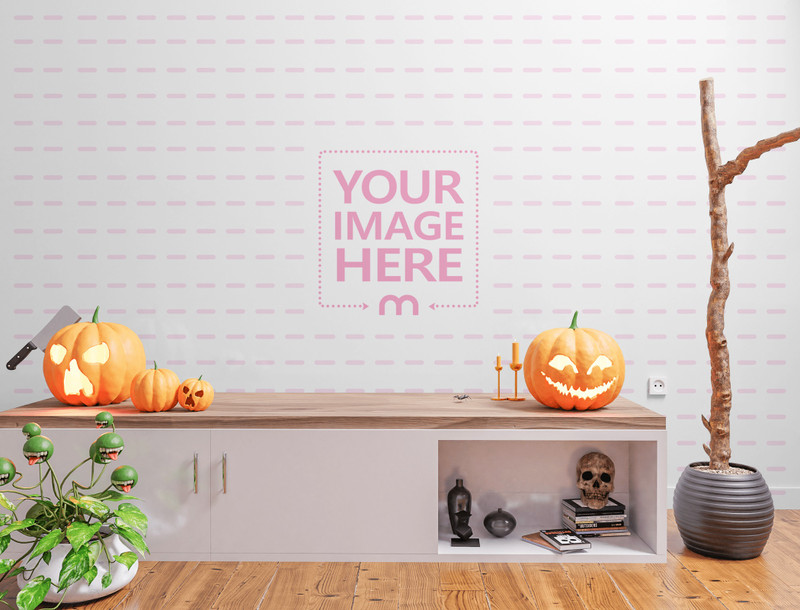 Mockup of a Wall Behind a Drawer and Some Halloween Accessories