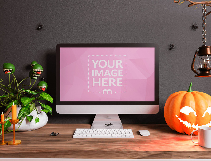 iMac Mockup With a Horror Plant and a Shining Pumpkin on the Side