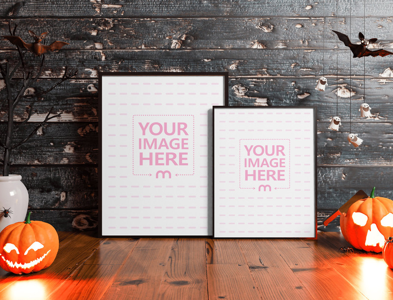 Two Canvases Mockup on the Scary Looking Table Scene