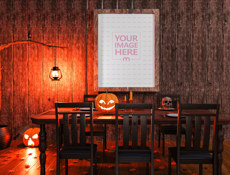 Mockup of a Canvas on top of a Dining Table With Halloween Decorations