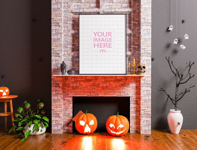 Mockup of a Canvas on a Halloween Decorated Fireplace