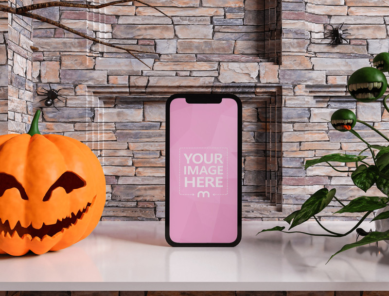 Mockup of a Smartphone With Scary Plants Beside it