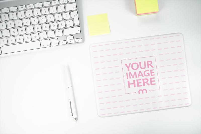 Mousepad on Work Desk Mockup