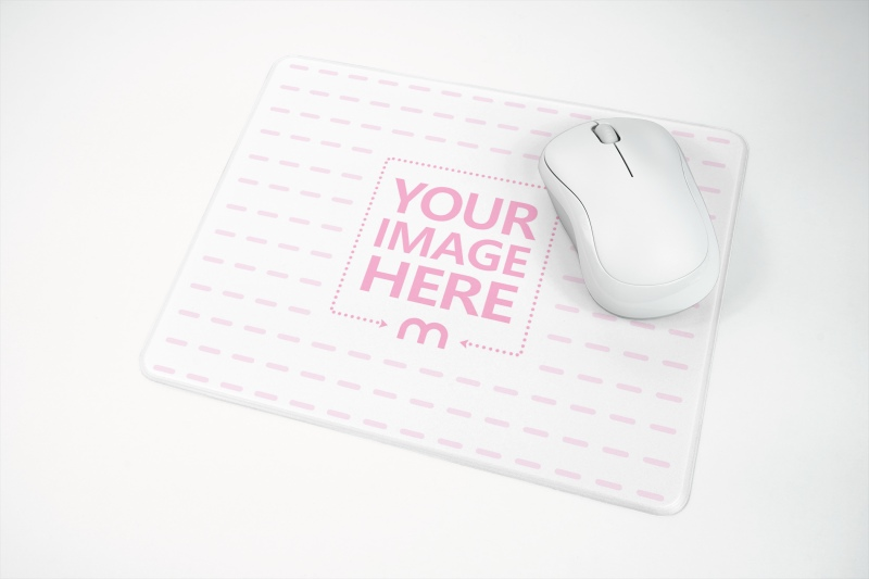 Mousepad with Mouse on Clean Surface Mockup