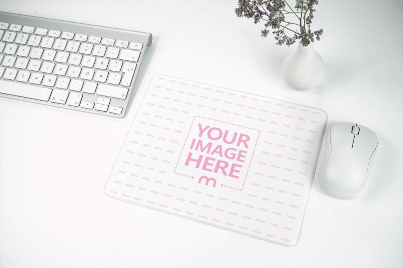 Mousepad on White Desk Mockup